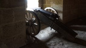 Ancient canon with wheels royalty free stock photography