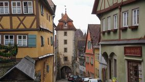Rothenburg houses and towers famous town stock photo