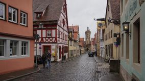 Rothenburg street scenery half timer houses rainy day royalty free stock photo