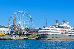 South harbor, ferry ship, the SkyWheel, in Helsinki Stock Photography