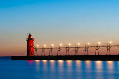 South Haven Lighthouse. Image of the South Haven Lighthouse at sunset stock photography