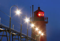 South Haven Lighthouse and Catwalk Royalty Free Stock Image