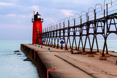 South Haven Lighthouse with Catwalk Royalty Free Stock Photo
