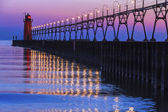 South Haven Lighthouse after Sundown Royalty Free Stock Photography