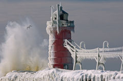 South Haven Lighthouse Winter stock photos