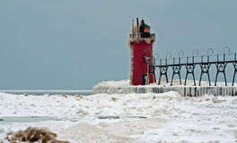 South Haven Lighthouse in the winter Royalty Free Stock Image