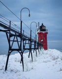 South Haven Pier Light in Winter. Frozen Lake Michigan Lighthouse in January Royalty Free Stock Photos