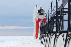 South Haven Pier Lighthouse Frozen in Ice Stock Photography
