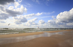 South haven south pierhead lighthouse. South pierhead lighthouse with breakers during high tide in south haven, michigan stock photography