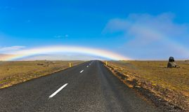 Icelandic Road Landscape with double rainbow Stock Photos