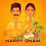 South India couple wishing Happy Onam in Indian art style Royalty Free Stock Photography