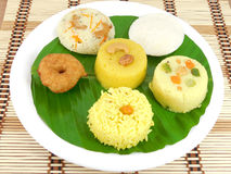 South Indian Breafast. Variety of South Indian breakfast dishes on a banana leaf Stock Photography