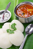 South indian breakfast on banana leaf Stock Photos