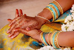 South indian bride. A south indian bridal hand decorated with mehandi Royalty Free Stock Photography