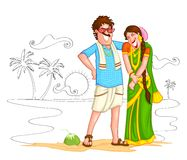 South Indian couple. Of India in vector Stock Images