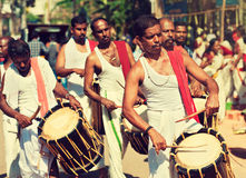 South Indian Drummers. Varkala,Kerala state, India  January 25th, 2015.  South India. Drummers on religious ceremony Stock Photo