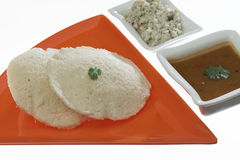South indian fast food idli with coriander leaf with Sambar and coconut chutney. . Stock Image