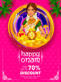 South Indian Keralite woman on advertisement and promotion background for Happy Onam festival of South India Kerala Royalty Free Stock Images
