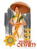 South Indian Keralite woman with umbrella celebrating Onam Royalty Free Stock Photo