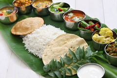 South indian meals served on banana leaf Royalty Free Stock Photography