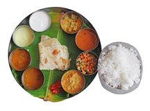 South Indian Plate Meals On Banana Leaf On White Stock Image