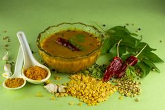 Free South Indian Traditional Dal With Ingrediants Stock Image - 136983031
