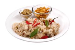 South indian upma and chutney. South indian upma / uppittu with chutney and mixture Stock Image
