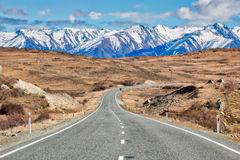 South Island Highway Through the Mountains. The state highway leads us to Mount Cook Mountain Range Stock Image
