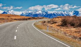 South Island Highway Through the Mountains. The state highway leads us to Mount Cook Mountain Range Stock Photography