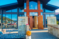 SOUTH ISLAND, NEW ZEALAND- MAY 25, 2017: Building entrance of modern beer Factory, monteiths beer factory, south island Stock Images