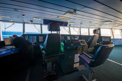 SOUTH ISLAND, NEW ZEALAND- MAY 25, 2017: Ferry boat pilot command cabin with view on the sea Royalty Free Stock Photo