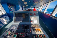 SOUTH ISLAND, NEW ZEALAND- MAY 25, 2017: Ferry boat pilot command cabin with view on the sea, in new zealand Stock Photography