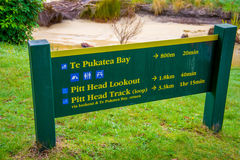 SOUTH ISLAND, NEW ZEALAND- MAY 22, 2017: Informative sign about Abel Tasman National Park located in South Island in New Royalty Free Stock Images