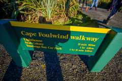 SOUTH ISLAND, NEW ZEALAND- MAY 25, 2017: An informative sign of Cape foulwind walkway, in New Zealand.  Royalty Free Stock Photography
