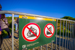SOUTH ISLAND, NEW ZEALAND- MAY 25, 2017: An informative sign of do not allow biking in the mountain, in New Zealand Royalty Free Stock Photography