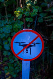 SOUTH ISLAND, NEW ZEALAND- MAY 25, 2017: An informative sign of do not allow use drones danger in a beautiful landscape. Of Pancake rocks blowholes, in New stock image