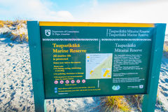 SOUTH ISLAND, NEW ZEALAND- MAY 23, 2017: Informative sign of marine reserve located in South Island in New Zealand Stock Photos