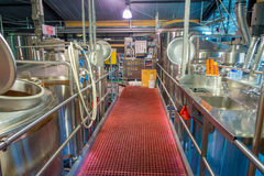 SOUTH ISLAND, NEW ZEALAND- MAY 25, 2017: Modern Beer Factory, steel tanks for beer fermentation and maturation Royalty Free Stock Photo