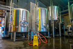 SOUTH ISLAND, NEW ZEALAND- MAY 25, 2017: Modern Beer Factory, steel tanks for beer fermentation and maturation Stock Photos