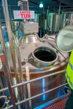 SOUTH ISLAND, NEW ZEALAND- MAY 25, 2017: Modern beer plant brewery , with brewing kettles, vessels, tubs and pipes made Royalty Free Stock Photos