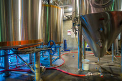 SOUTH ISLAND, NEW ZEALAND- MAY 25, 2017: Modern beer plant brewery , with brewing kettles, vessels, tubs and pipes made Royalty Free Stock Photography