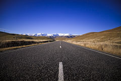 South island road, New Zealand. South Island road trip photo. Central Otago, New Zealand Stock Photo