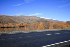 South island road, New Zealand. South Island road trip photo. Central Otago and Canterbury, New Zealand Royalty Free Stock Photography