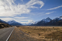 South island road, New Zealand. South Island road trip photo. Central Otago and Canterbury, New Zealand Royalty Free Stock Image