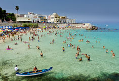 South Italy beach. Lecce, Italy-July, 2012: The popular beach of the resort town Santa Maria al Bagno Stock Photography