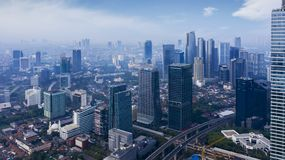 South Jakarta central business district at morning stock photography