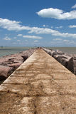 The south jetty of Port Aransas, Texas. The jetty is used frequently for fishing royalty free stock image