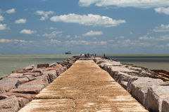 The south jetty of Port Aransas, Texas Stock Photo