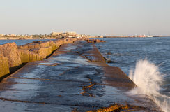 The south jetty of Port Aransas, Texas. The jetty is used frequently for fishing Royalty Free Stock Photography