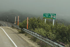 South Klondike Highway. A potentially hazardous fog appears to be rolling in on this stretch of the South Klondike Highway near the border of Canada`s Yukon Royalty Free Stock Images